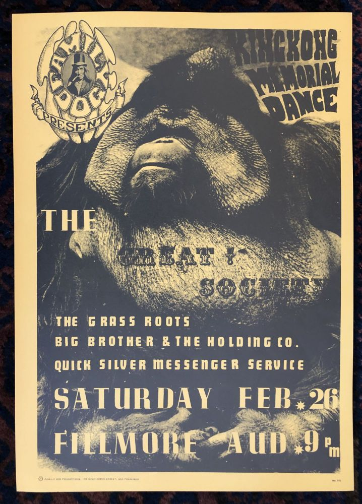 (Rock Poster) KING KONG MEMORIAL DANCE. THE GREAT SOCIETY. Family Dog Presents. 1966.