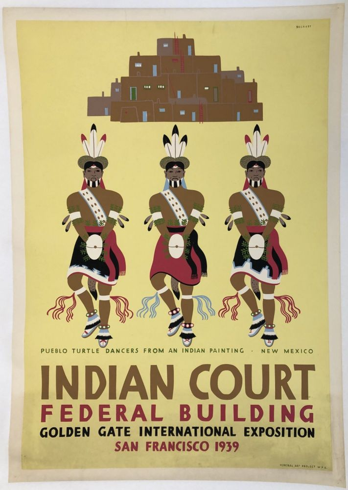 INDIAN COURT. Golden Gate International Exposition. San Francisco. 1939. Pueblo Turtle Dancers From An Indian Painting (Original Vintage Poster). Louis B. Siegriest.
