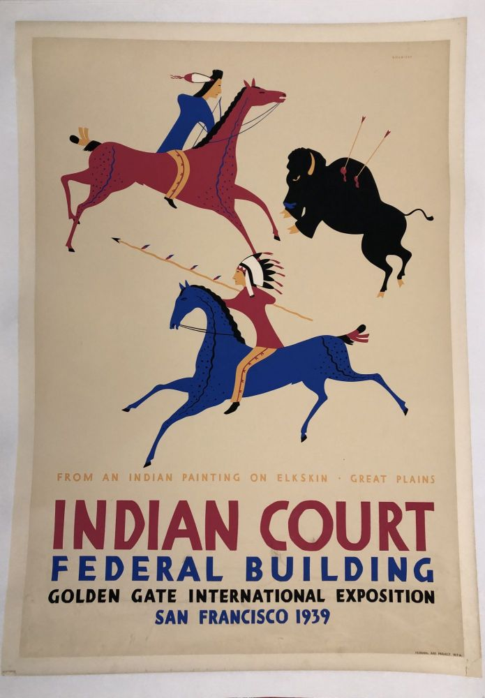 INDIAN COURT. Golden Gate International Exposition. San Francisco. 1939. From An Indian Painting on Elkskin, Great Plains (Original Vintage Poster). Louis B. Siegriest.