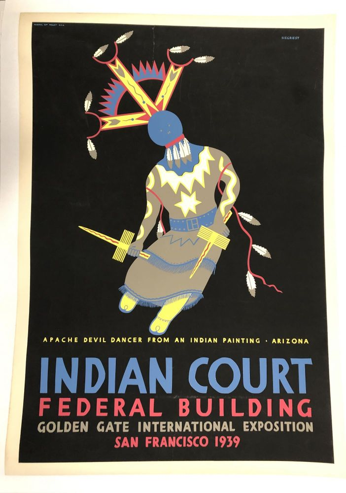 INDIAN COURT. Golden Gate International Exposition. San Francisco. 1939. Apache Devil Dancer From An Indian Painting, Arizona. (Original Vintage Poster). Louis B. Siegriest.