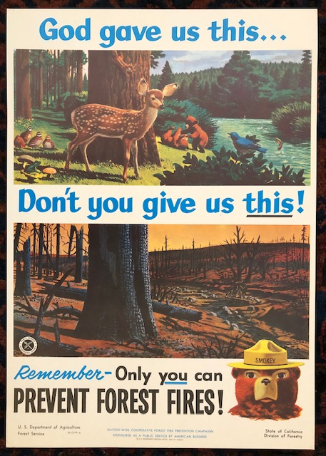 (Smokey Bear) GOD GAVE US THIS...DON'T YOU GIVE US THIS!. Remember Only You Can Prevent Forest Fires! (Original Vintage Poster). Armando Gonzalez.