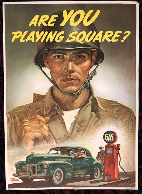ARE YOU PLAYING SQUARE. 1944. World War II poster for O.W.I. (Original Vintage Poster). Dean Cornwall.