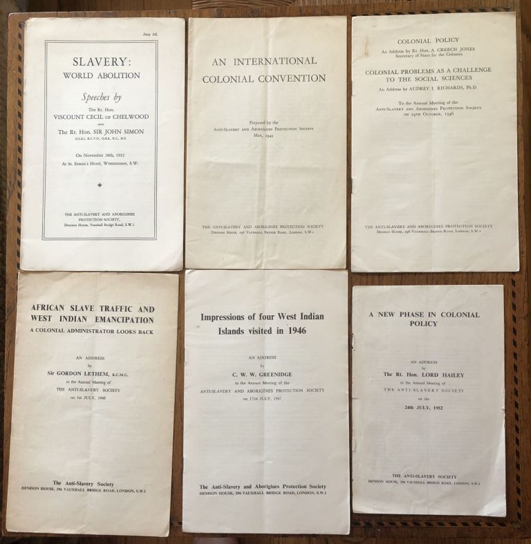 ANTI-SLAVERY AND ABORIGINES' PROTECTION SOCIETY, Various supplemental publications. 1932-1952. (Six issues)