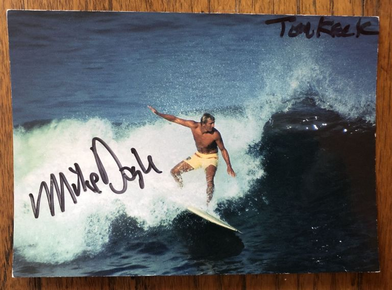 CALIFORNIA SURFING, Mike Doyle at Ocean Beach. Postcard. (Signed). Mike Doyle, Tom Keck, Photographer.