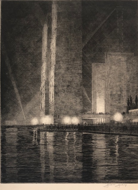 "GRAND CANAL, AMERICA: Electrical Building at Night. ""Chicago Fair 1933"" Gerald K. Geerlings."