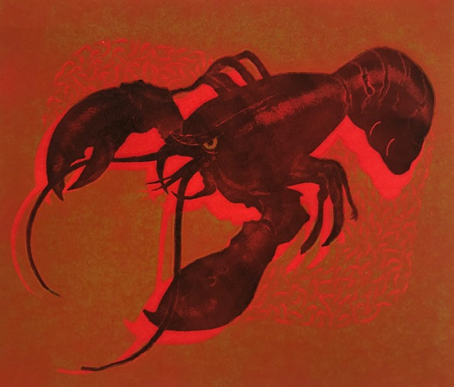 RED CRUSTACEAN (Original Woodblock). Rica O. Coulter, Born 1928.