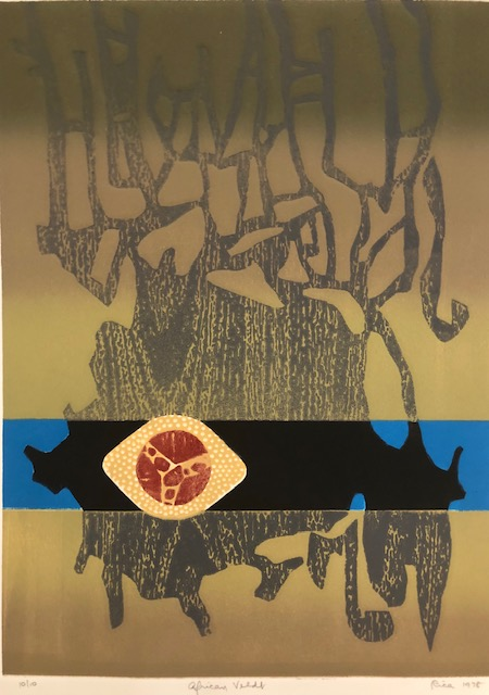 AFRICAN VELDT (Original Woodcut on Embossed paper). Rica O. Coulter, Born 1928.