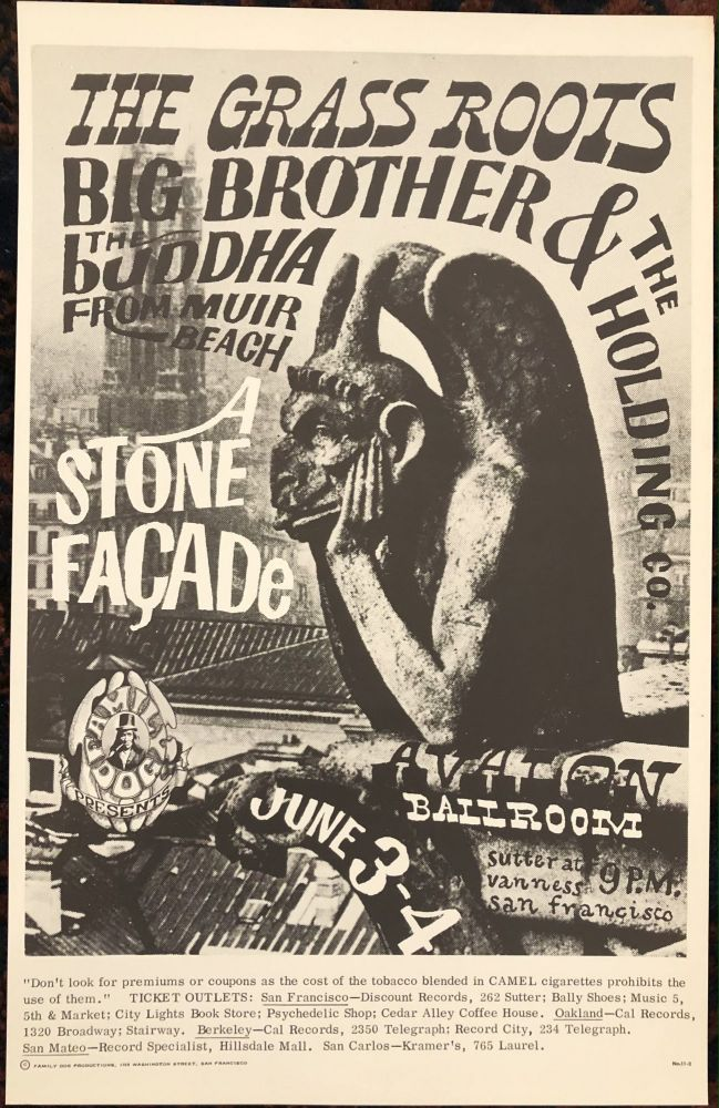 (Rock Poster) A STONE FACADE, THE GRASS ROOTS, BIG BROTHER & THE HOLDING COMPANY. Family Dog Presents.