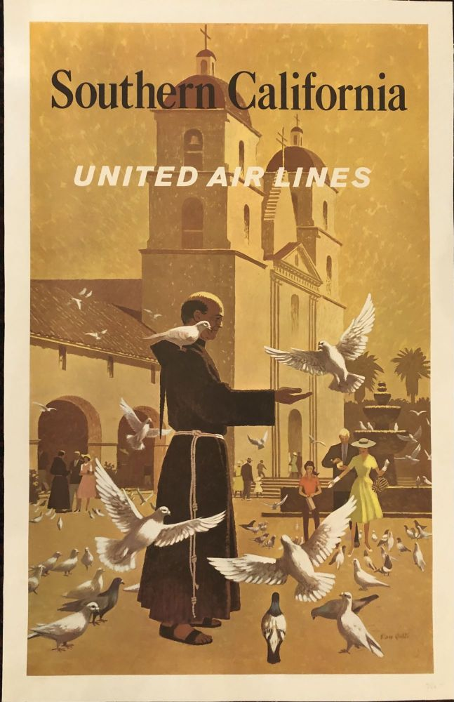 SOUTHERN CALIFORNIA. United Airlines. Circa 1950's. (Original Vintage Travel Poster) Featuring the Santa Barbara Mission. Stan Galli.
