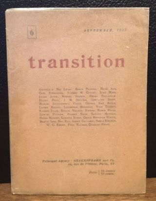 TRANSITION. Issue 6, September 1927. Eliot Paul Eugene Jolas.