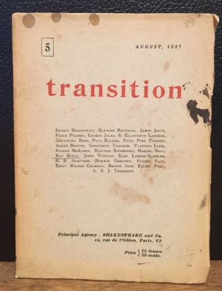 TRANSITION. Issue 5, August 1927. Eliot Paul Eugene Jolas.