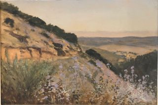 SANTA BARBARA LANDSCAPE WITH WILDFLOWERS (Original Oil Painting). Lockwood DeForest