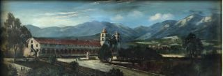 SANTA BARBARA MISSION (Original Oil Painting). John Sykes