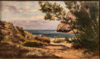 FRY HARBOR, SANTA CRUZ ISLAND, 1917 (Original Oil Painting). Ludmilla Welch