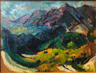 MOUNTAIN LANDSCAPE (San Marcos Foothills) Original Oil Painting. Reva Jackman