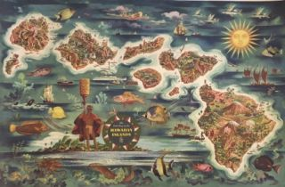 THE DOLE MAP OF THE HAWAIIAN ISLANDS. (Vintage Poster/ Map). Joseph Feher