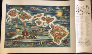 THE DOLE MAP OF THE HAWAIIAN ISLANDS. (Vintage Poster/ Map)