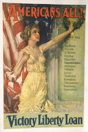 AMERICANS ALL! Victory Liberty Loans. (Original Vintage Poster). Howard Chandler Christy