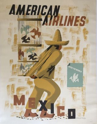 AMERICAN AIRLINES, MEXICO. (Original Vintage Poster). E. McKnight Kauffer