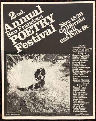 2nd. ANNUAL SAN FRANCISCO POETRY FESTIVAL. 1977. (Original Vintage Poster