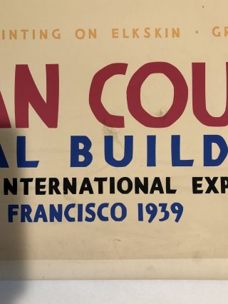 INDIAN COURT. Golden Gate International Exposition. San Francisco. 1939. From An Indian Painting on Elkskin, Great Plains (Original Vintage Poster)