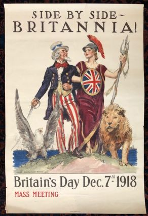 SIDE BY SIDE BRITANNIA. Britain's Day Dec. 7th-1918. (Original Vintage Poster). James...