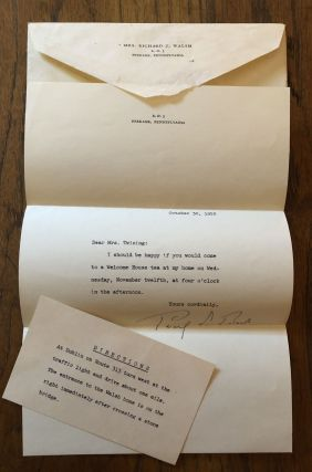SIGNED INVITATION TO TEA. 1952. Pearl S. Buck