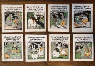 BED TIME STORIES. Set of Eight Little Animal Books. (Complete). Thornton Burgess