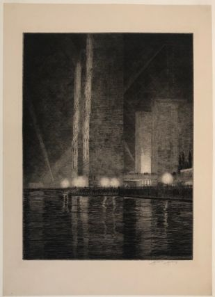 "GRAND CANAL, AMERICA: Electrical Building at Night. ""Chicago Fair 1933"""