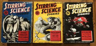 STIRRING SCIENCE STORIES. February, April, June. 1941. (Three issues). Donald A. Wollheim