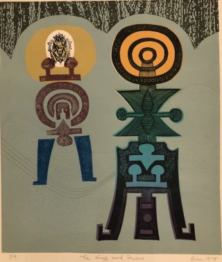 THE KING AND THE QUEEN. (Original Woodcut on Embossed paper). Rica O. Coulter, Born 1928