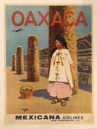 OAXACA. Mexicana Airlines. Circa 1960's. (Original Vintage Travel Poster