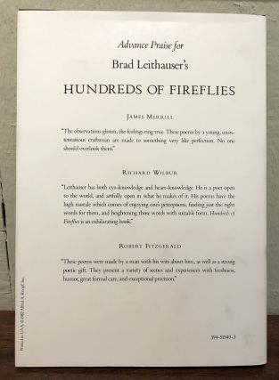 HUNDREDS OF FIREFLIES. Poems by Brad Leithauser