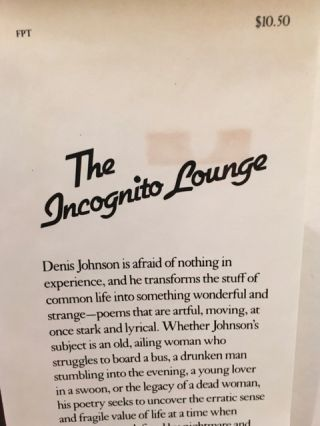 THE INCOGNITO LOUNGE AND OTHER POEMS