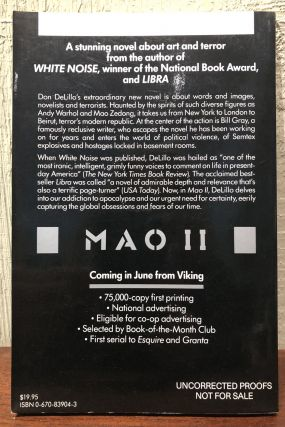 MAO II, A Novel by Don DeLillo. (Advanced Review Copy- Uncorrected Proofs)