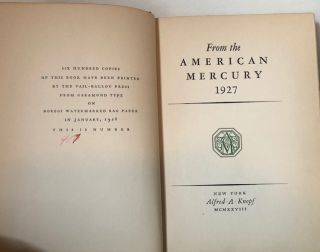 FROM THE AMERICAN MERCURY 1927