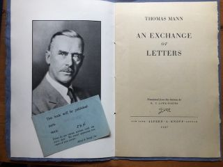 AN EXCHANGE OF LETTERS